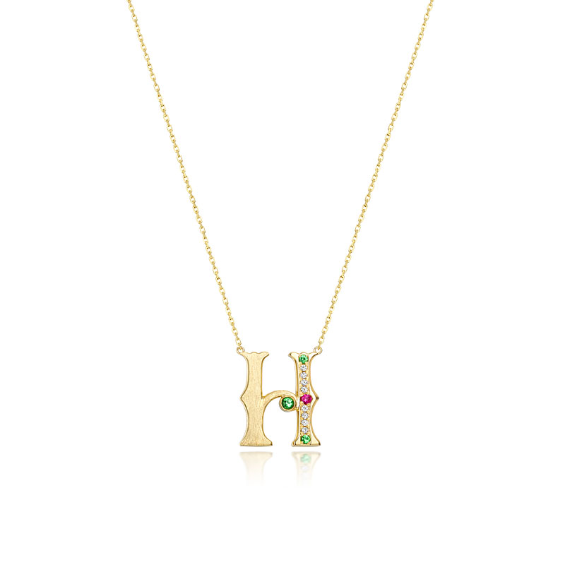 18K Yellow Gold Letter H With Colour Stones Necklace
